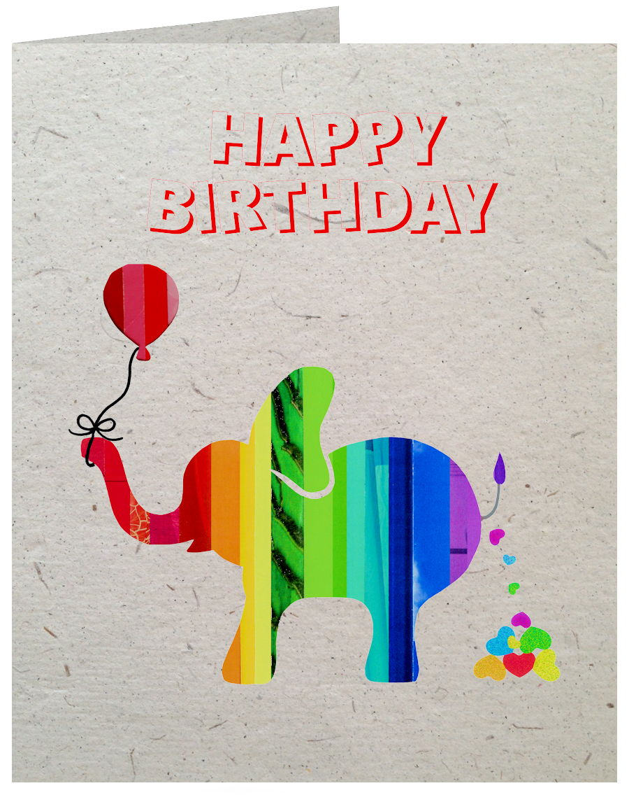 GC012 Poop Paper Elephant Birthday Card
