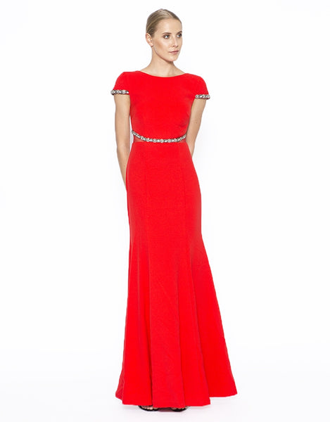 Gertrude cap sleeve gown with beaded det