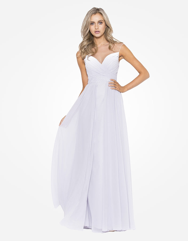 audrey pleated chiffon gown