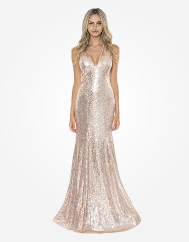 peony sequin fishtail gown with open bac