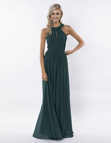 anemane high neck chiffon gown