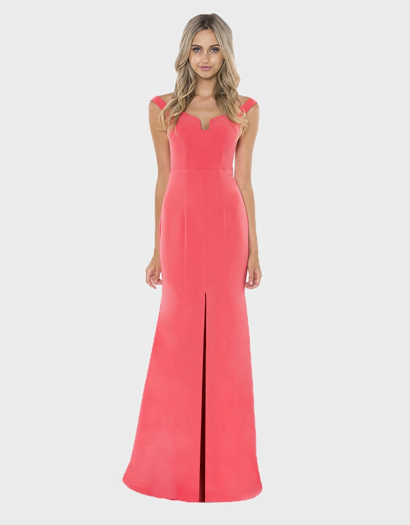 daphne off-shoulder fitted gown B25D11