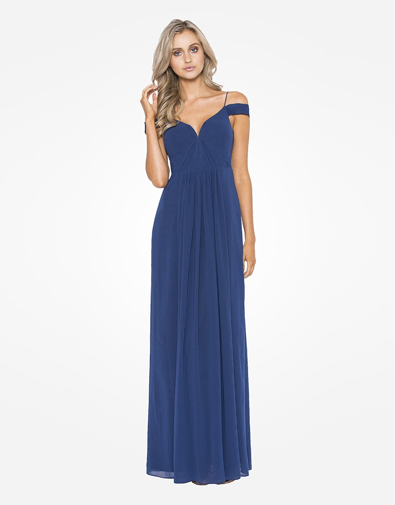 ava off shoulder chiffon gown
