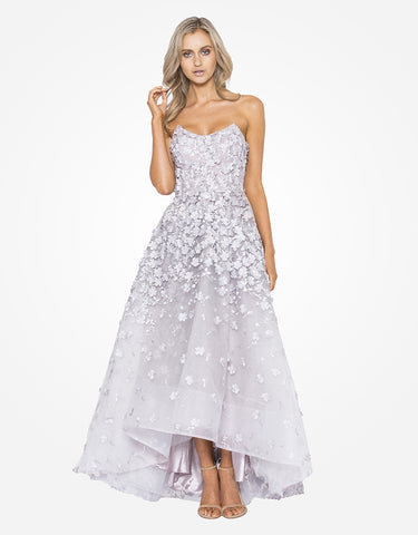 jane strapless 3d flower lace ball gown
