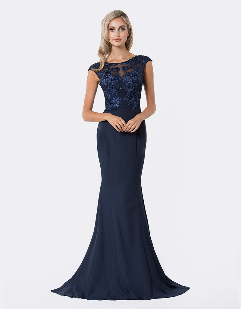 belle 3d lace cap sleeve gown