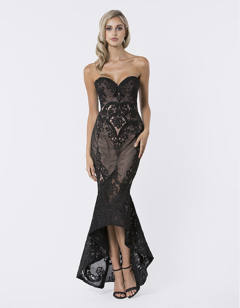 lois strapless fishtail lace gown