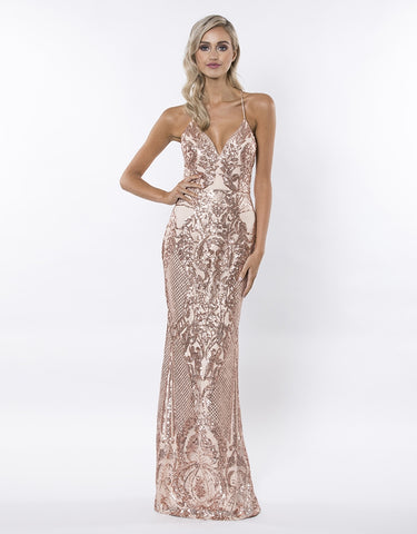 CLASSIC PATTERN SEQUIN COLUMN GOWN
