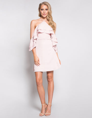 SAIRA DRAPE OFF SHOULDER DRESS