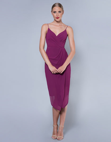 AMARANTH TUCK BODICE DRESS