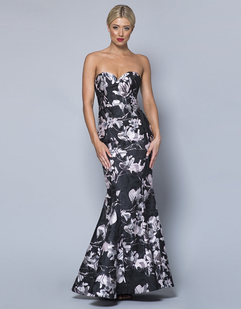 ANALEIGH STRAPLESS PRINT GOWN