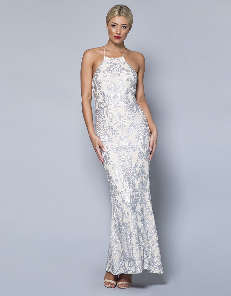 JASLENE HIGH NECK PATTERN SEQUIN GOWN B31D32
