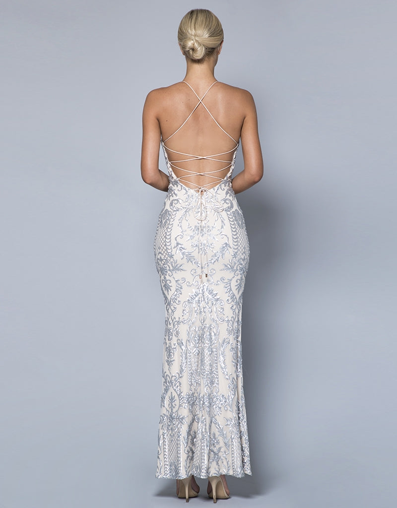 JASLENE HIGH NECK PATTERN SEQUIN GOWN