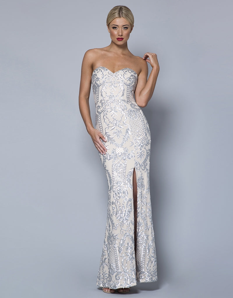 ELLE STRAPLESS PATTERN SEQUIN GOWN
