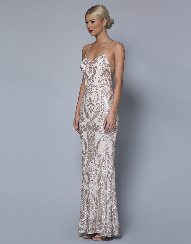 ASHLEY STRAPPY PATTERN SEQUIN GOWN B31D36