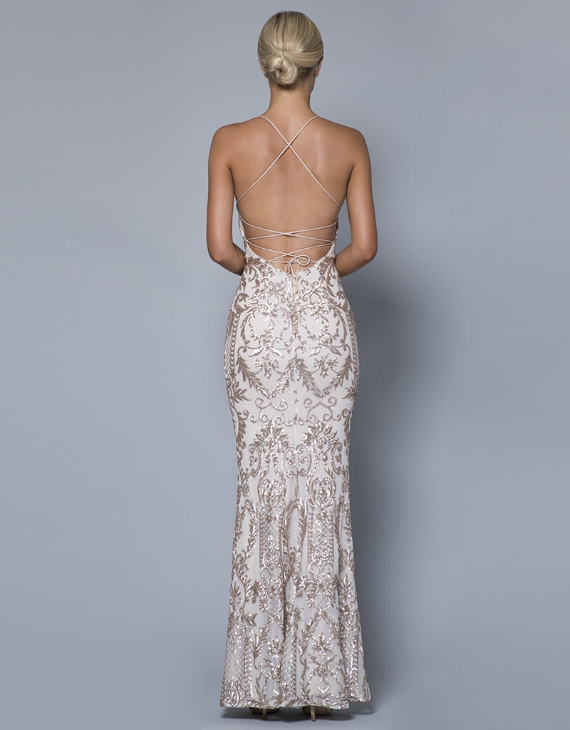 ASHLEY STRAPPY PATTERN SEQUIN GOWN
