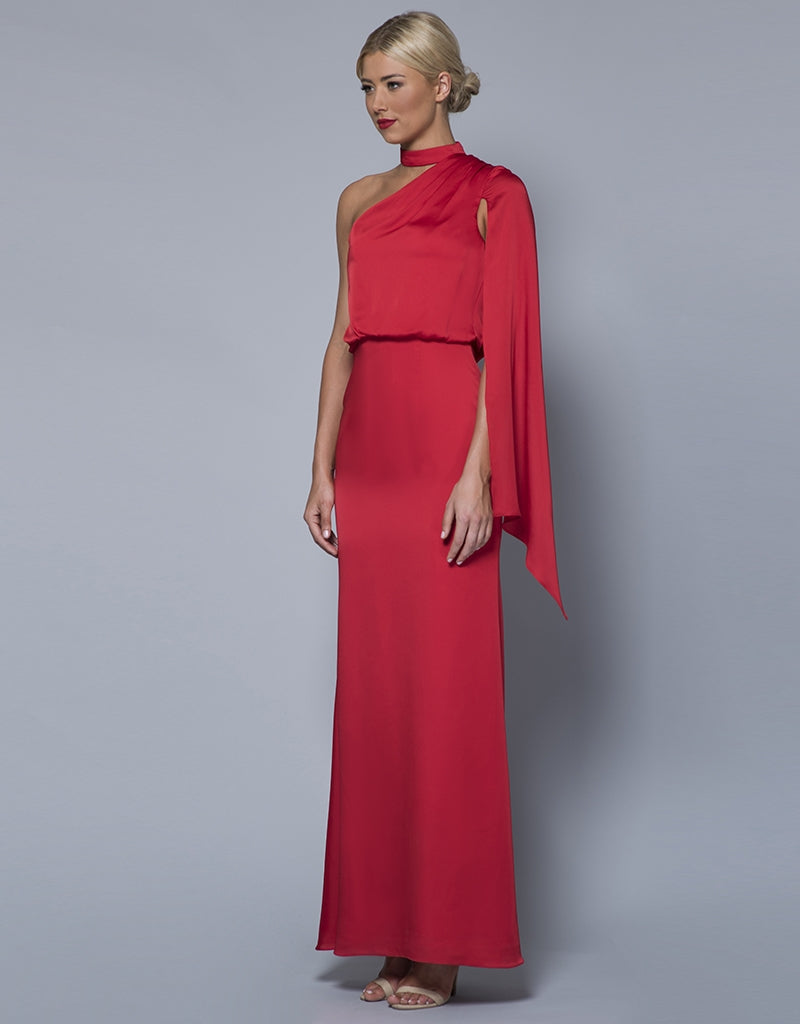 LISA SATIN DRAPED ASYMMETRICAL GOWN