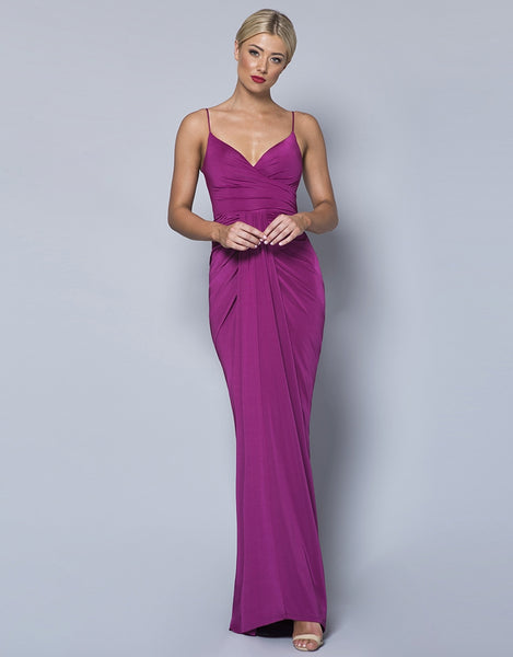 CANDICE DRAPED SLINKY GOWN B31D53