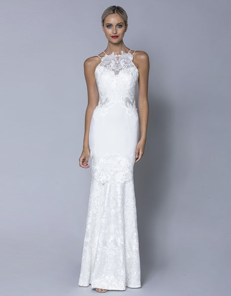 ADLEY SEQUIN EMBROIDERY APPLIQUE GOWN B32D01L