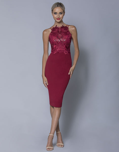 AVIANA SEQUIN EMBROIDERY APPLIQUE MIDI B32D04S
