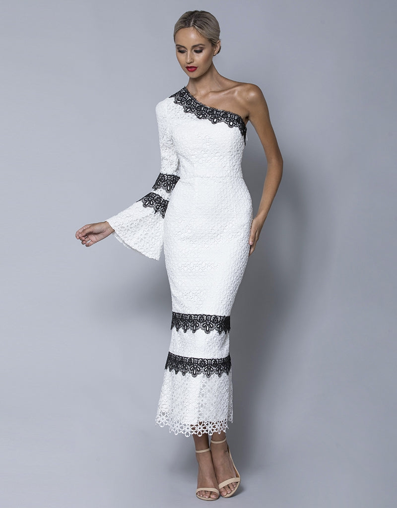 ISA ONE SHOULDER SLEEVE LACE MIDI B32D31S