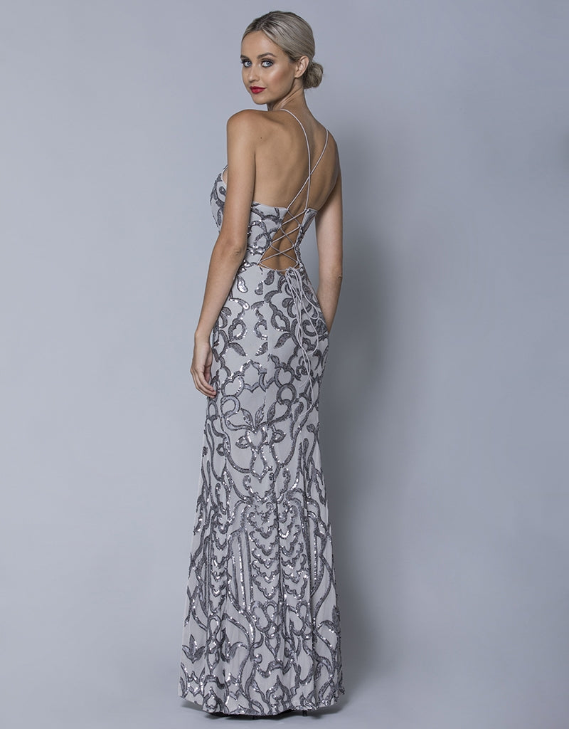 FARAH STRAPPY PATTERN SEQUIN GOWN B32D24L