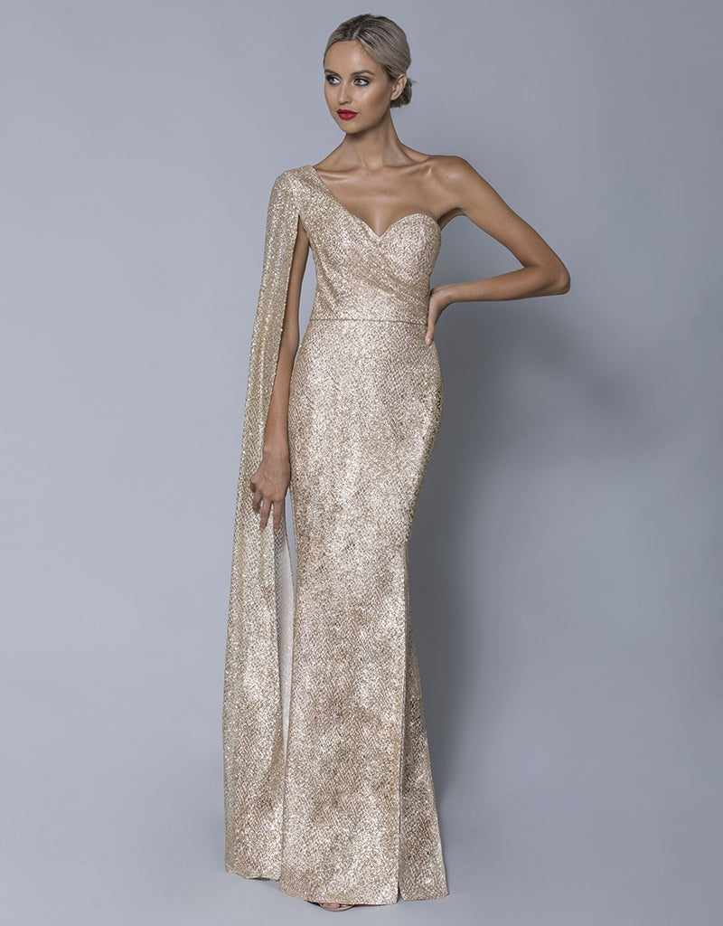 HARLYN CAPE SLEEVE DIAMANTE GOWN