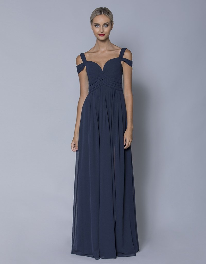THEA DRAPED SLEEVE CHIFFON GOWN B32D60L