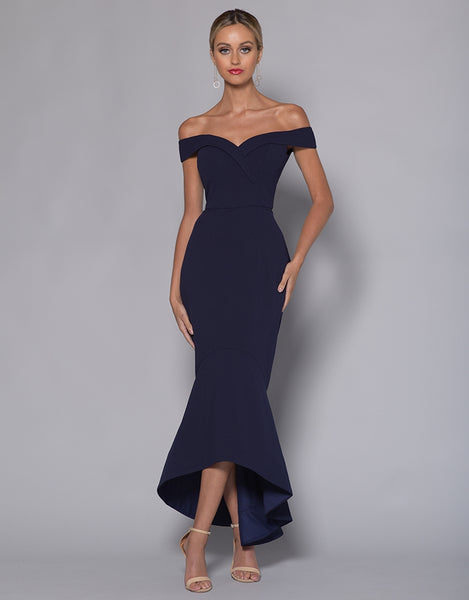 RUTH OFF SHOULDER TRUMPET MIDI BB33D26