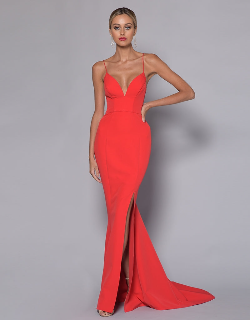 JULIET LOW CUT SPLIT GOWN