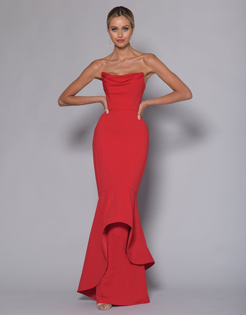 HESTER STRAPLESS DRAPE TRUMPET GOWN