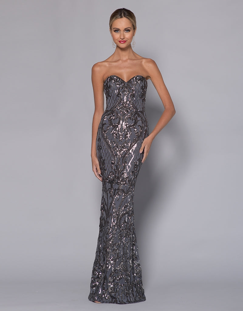 EILEEN SWEETHEART PATTERN SEQUIN GOWN B33D12-L