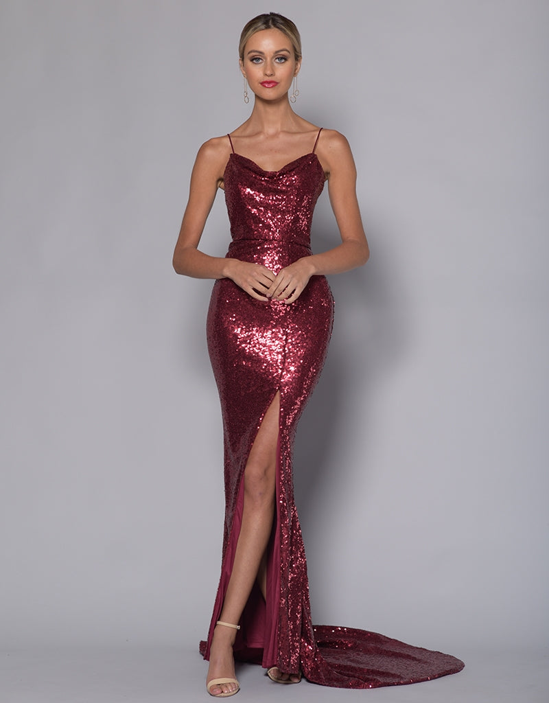 ANNE COWL NECK SPLIT SEQUIN MAXI
