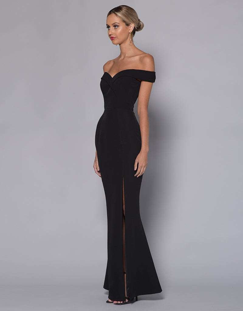 OPHELIA OFF SHOULDER SPLIT GOWN