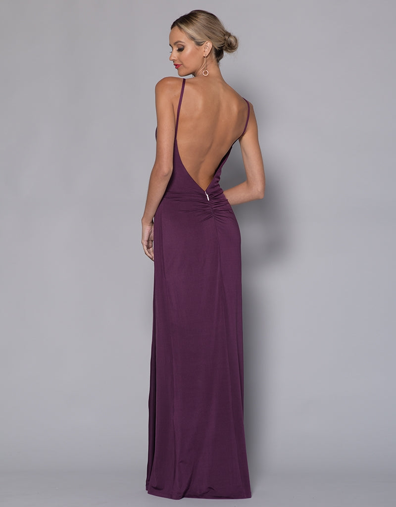 DAVIS DRAPE EXPOSED BACK GOWN B33D15-L