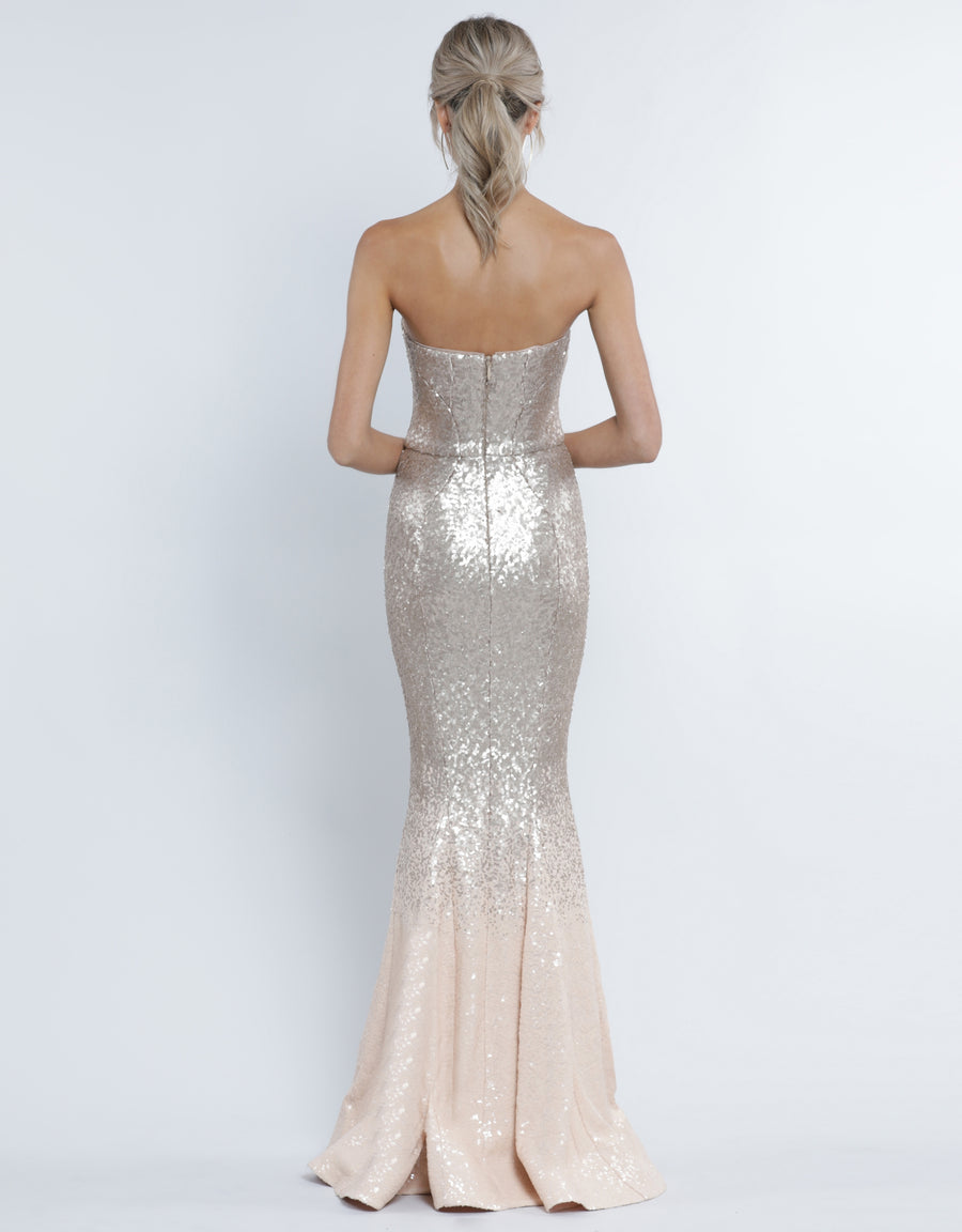 LAUREN SWEETHEART SEQUIN GOWN B34D52-L