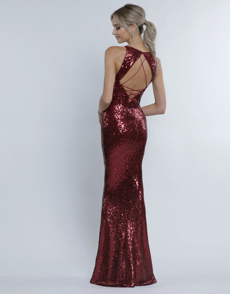 GIGI STRAPPY BACK SEQUIN GOWN B34D69-L