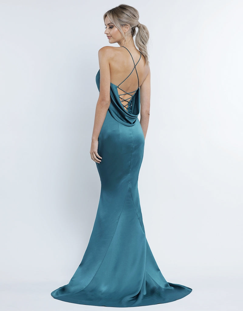 NAOMI SATIN COWL BACK GOWN B34D17-L