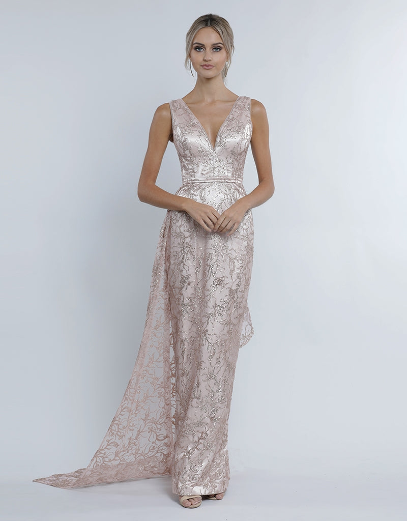 KENDALL V-NECK GLITTER GOWN - DETACHABLE SKIRT B34D30-LDS