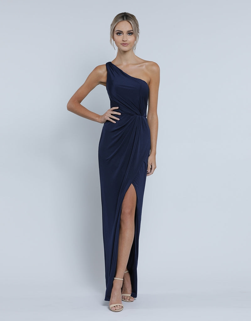 EVA ONE SHOULDER DRAPED GOWN B34D38-L