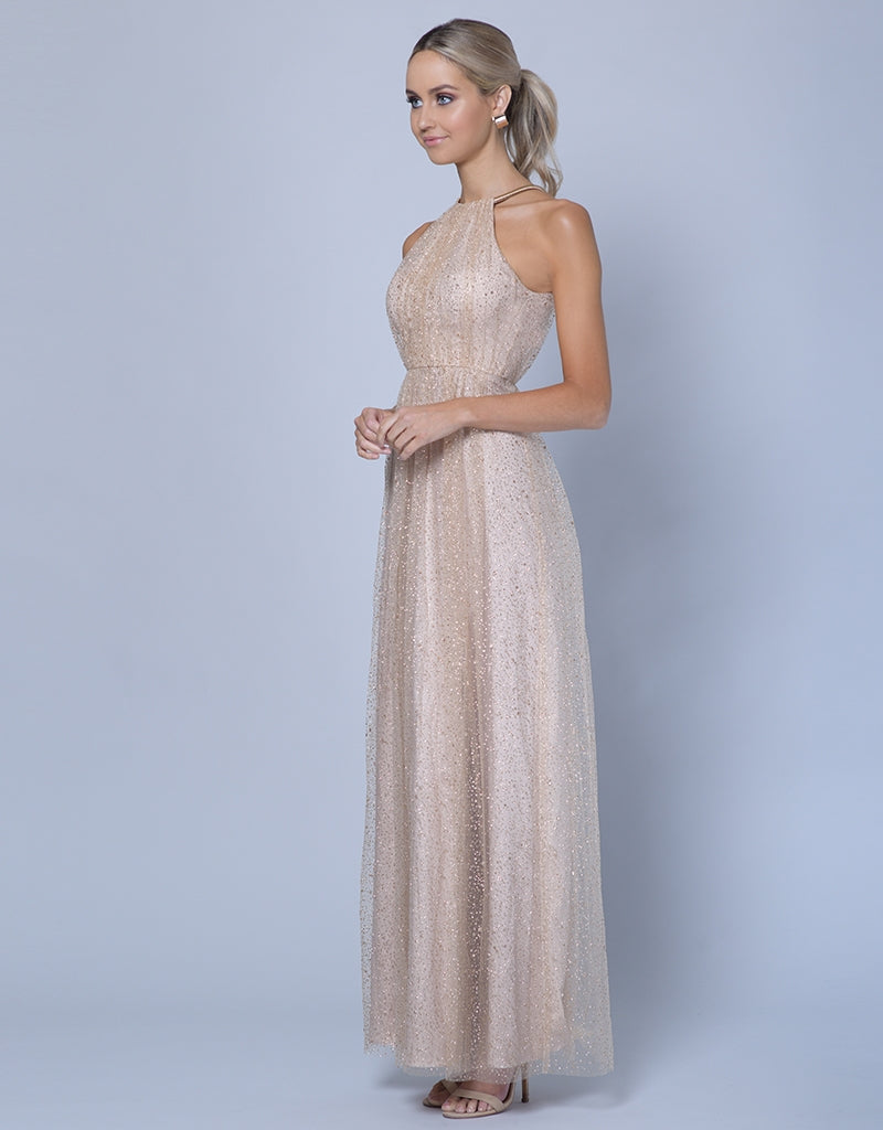 LAVENDER HIGH NECK GLITTER GOWN