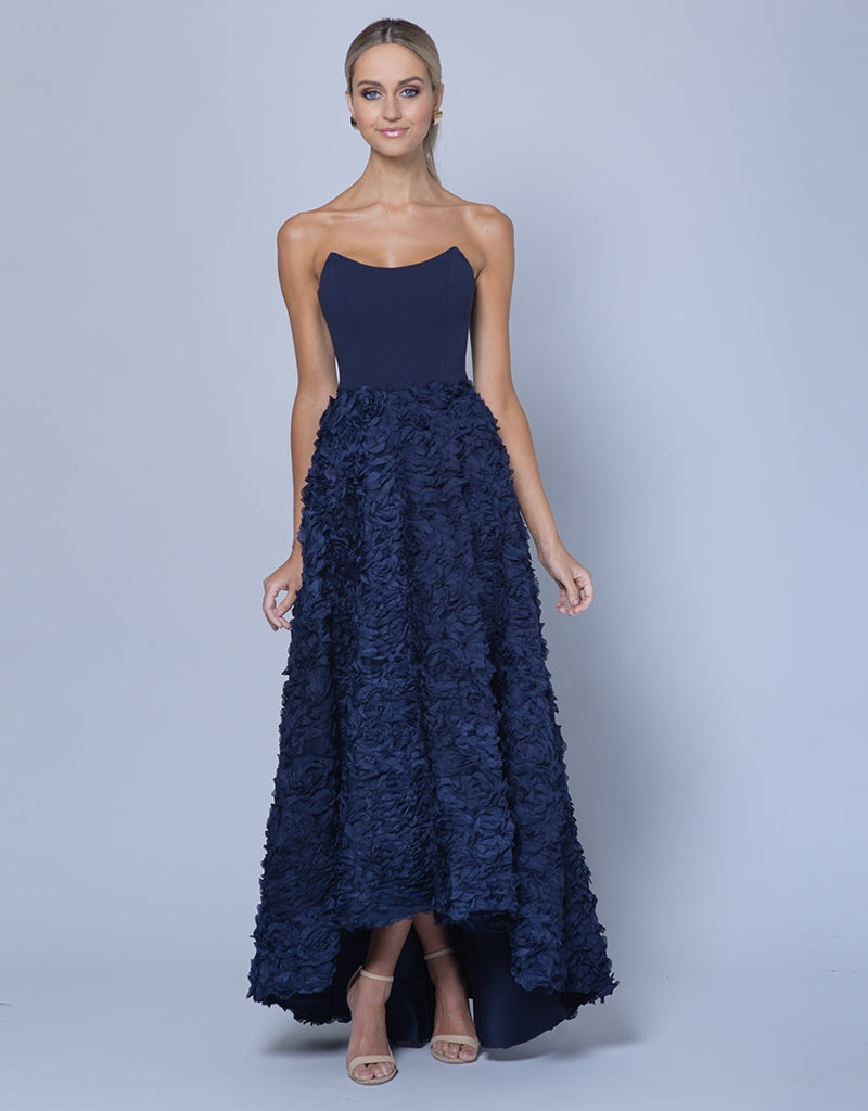 JEAN MARIE ROSE TEXTURED GOWN - HIGH/LOW SKIRT B35D10-HL