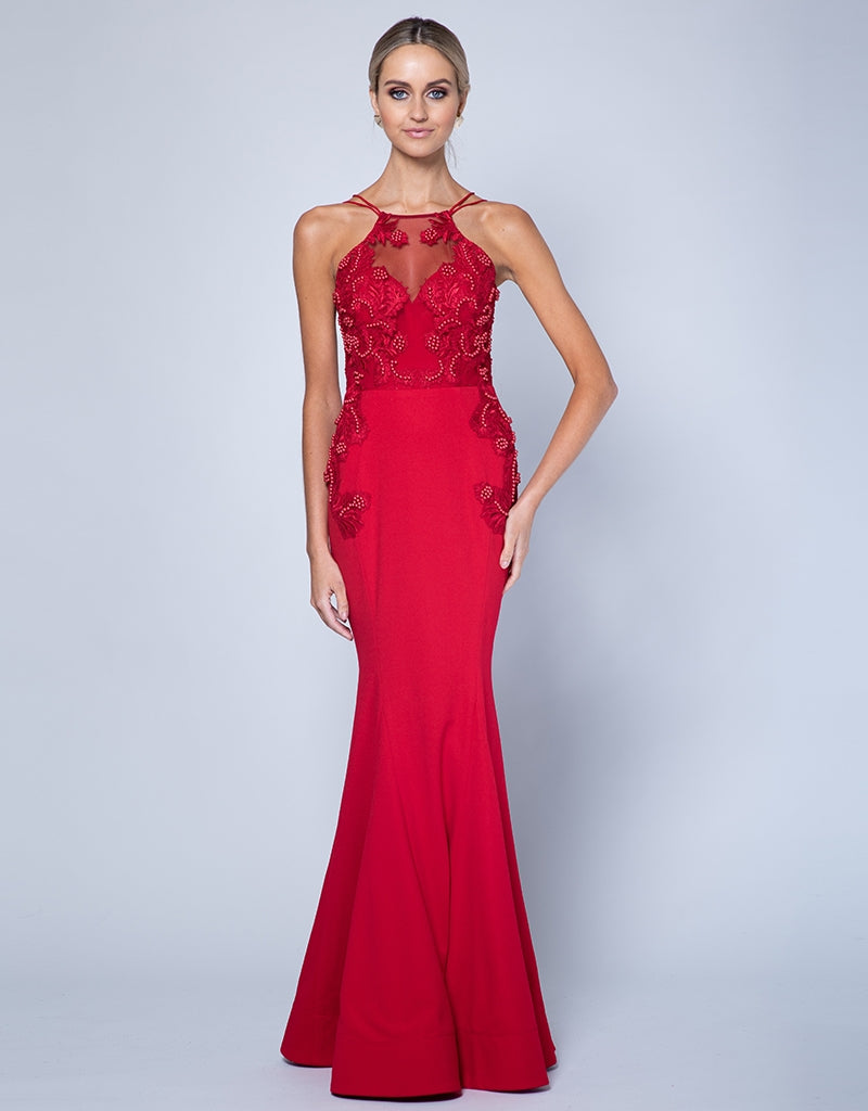 MISS STRAPPY BEADED GOWN