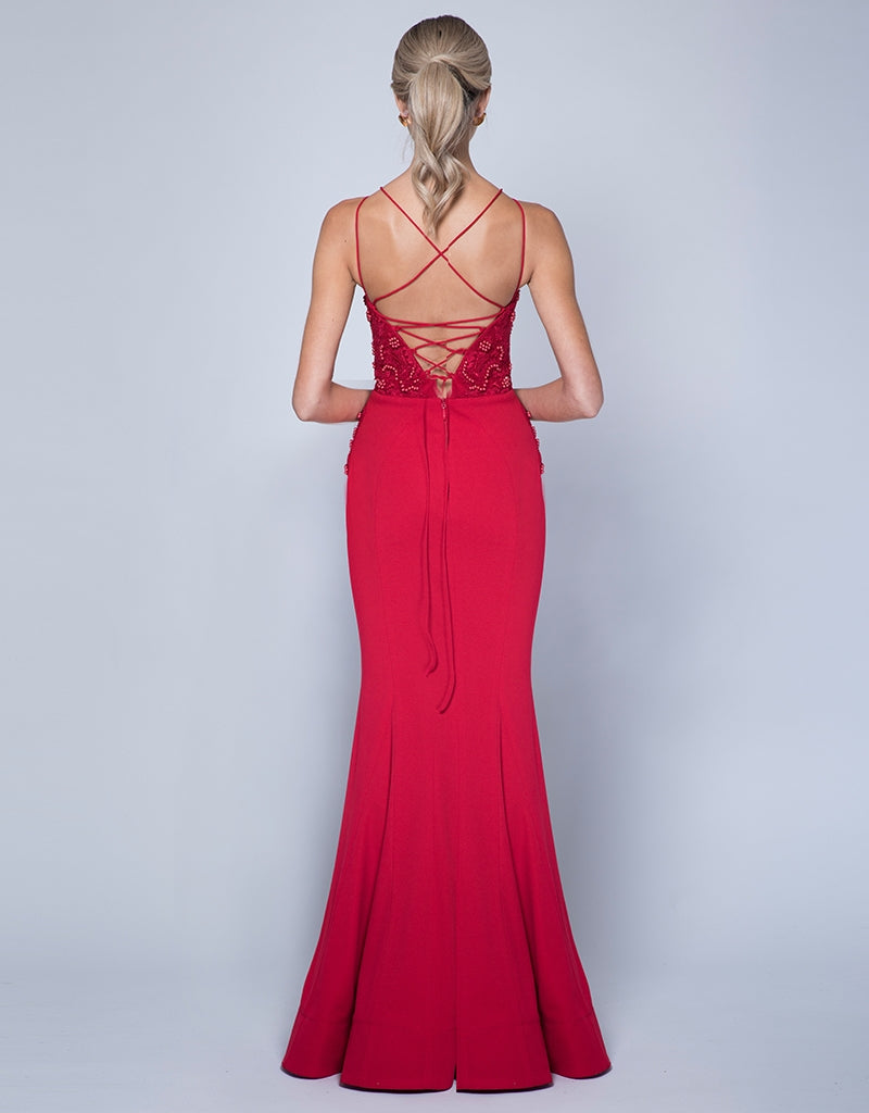 MISS STRAPPY BEADED GOWN B35D16L