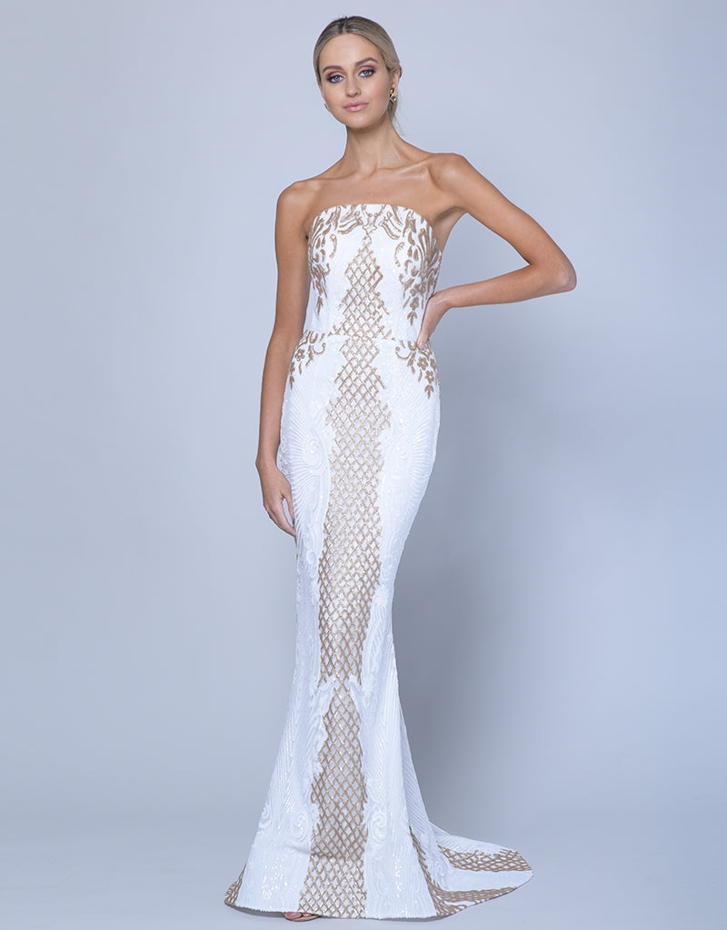 NAHEMA STRAPLESS PATTERN SEQUIN GOWN B35D22L