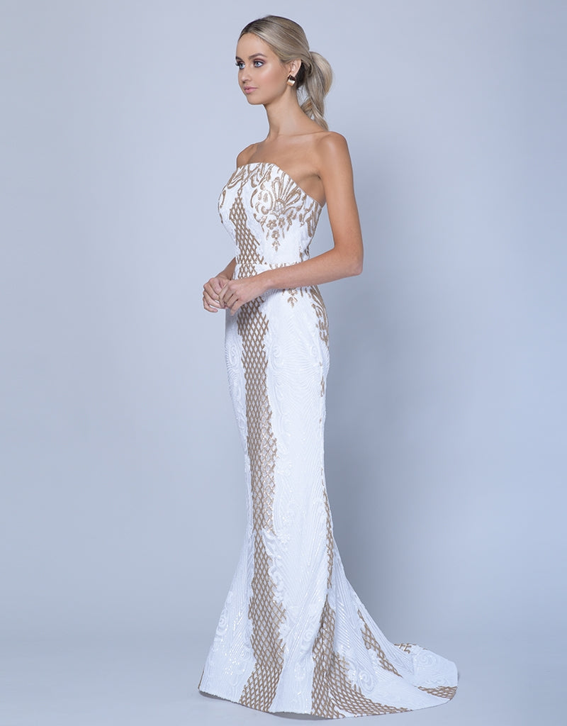 NAHEMA STRAPLESS PATTERN SEQUIN GOWN