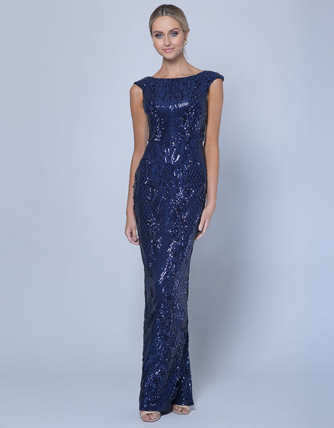 MAGIE PATTERN SEQUIN COLUMN GOWN B35D23-L
