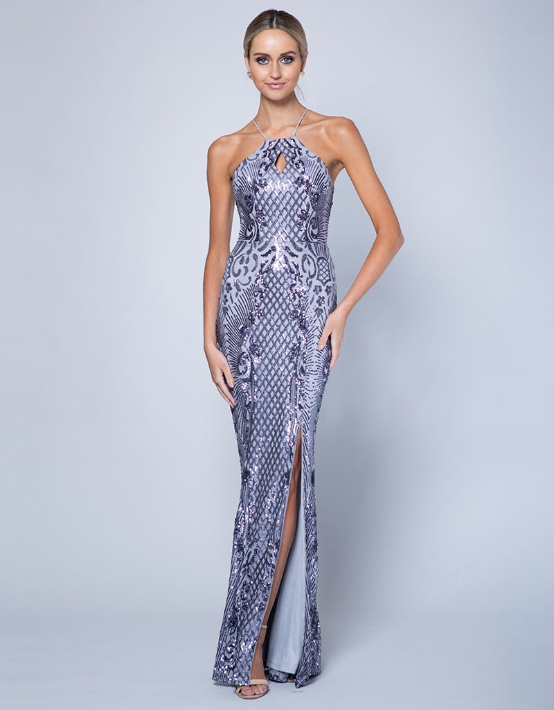 LOULOU HIGH NECK PATTERN SEQUIN GOWN B35D25-L