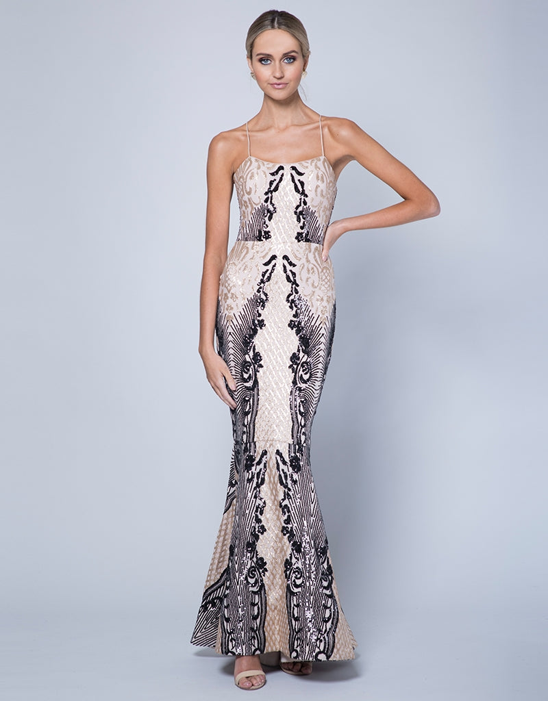 ASPEN SCOOP NECK PATTERN SEQUIN GOWN B35D27-LCB