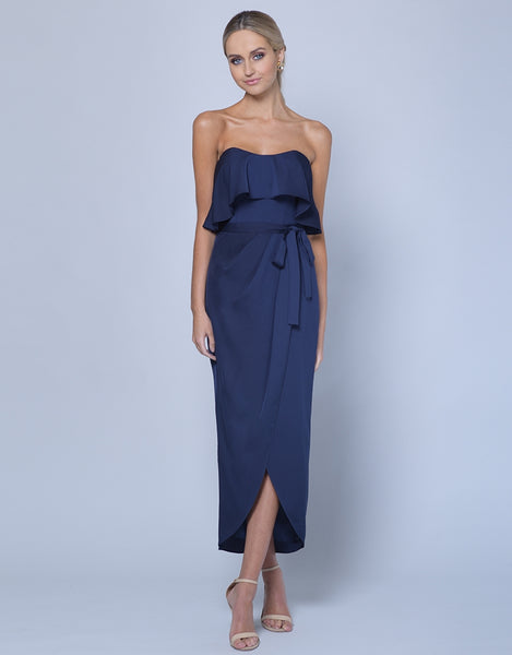 ALLURE STRAPLESS DRAPED MIDI B35D33-S