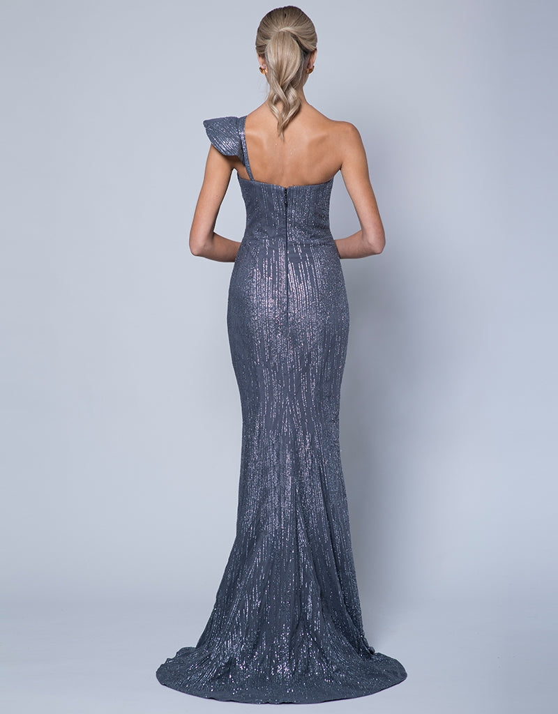 VIVA RUFFLE SHOULDER GLITTER GOWN